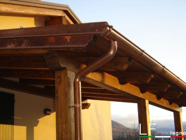 tettoia in lamellare castagno
